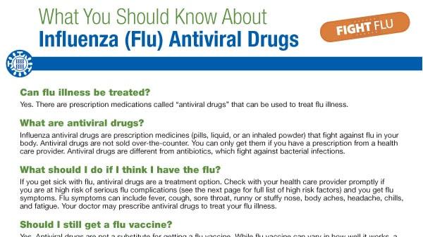 Lo que debería saber sobre los medicamentos antivirales contra la influenza (gripe) pdf