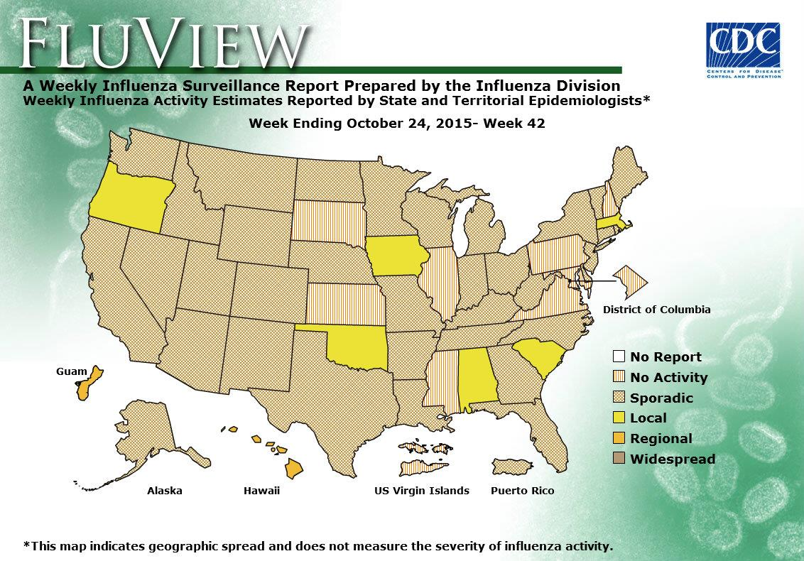 Weekly US Map Influenza Summary Update Seasonal Influenza Flu - Usa map states