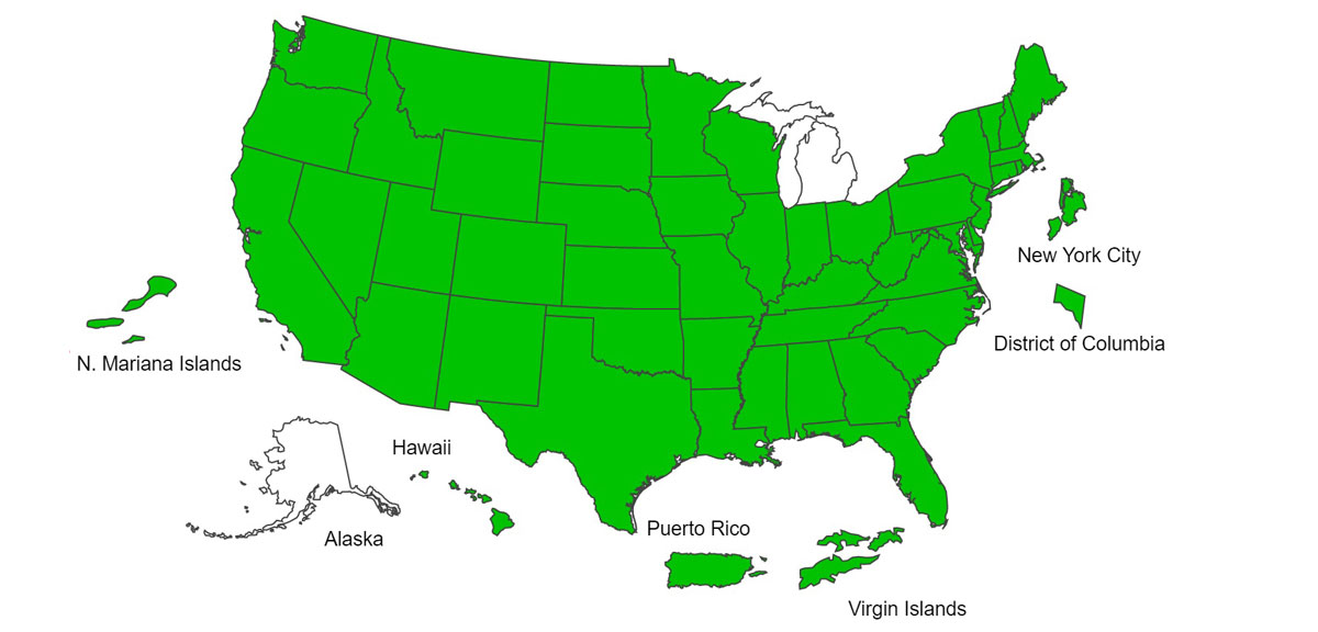 "Map of the United States, all states are green indicating ""minimal"" influenza activity except for Michigan and Alaska, which are white & reporting no activity"