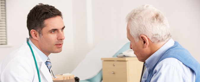Prompt Use of Antivirals is Key this Flu Season. A clinician discusses flu antiviral options with a senior man.