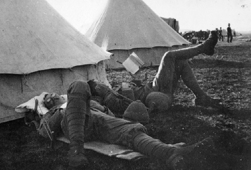 Soldiers resting at Camp Funston in Fort Riley, Kansas.