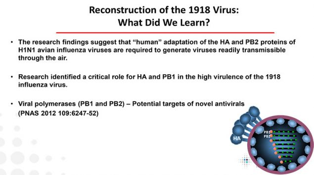 This image lists lessons learned from the study of the reconstructed 1918 virus at CDC and why it was so deadly.