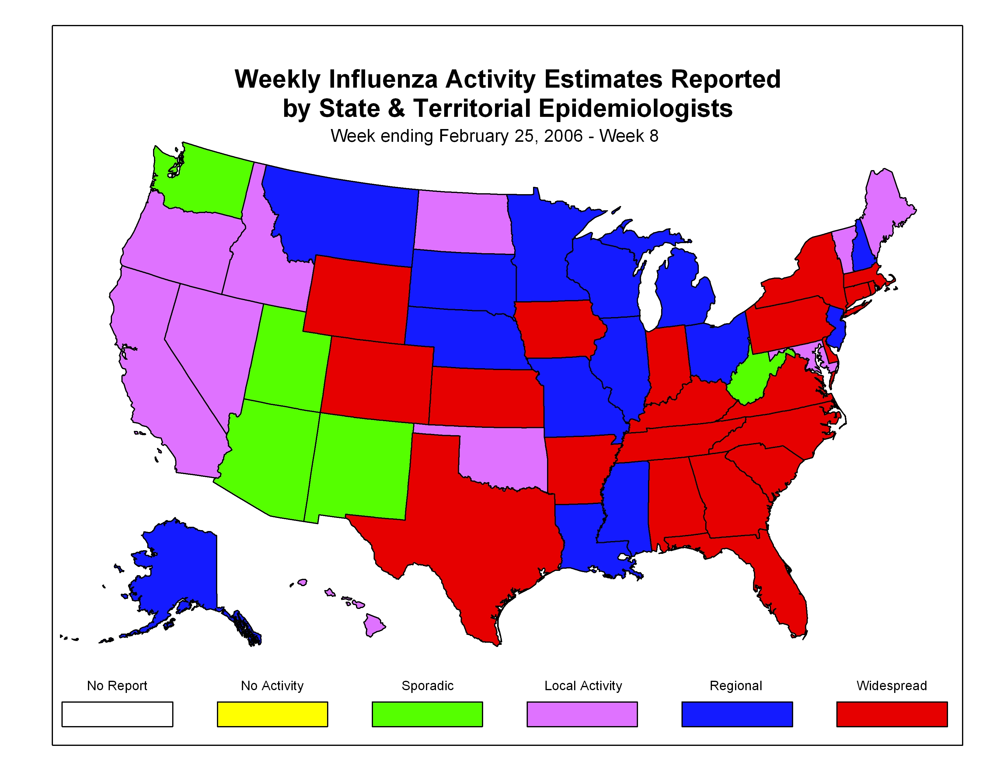 CDC Influenza Flu Weekly Report Influenza Summary Update - Pneumonia map us 201