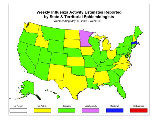 U. S. map for Weekly Influenza Activity