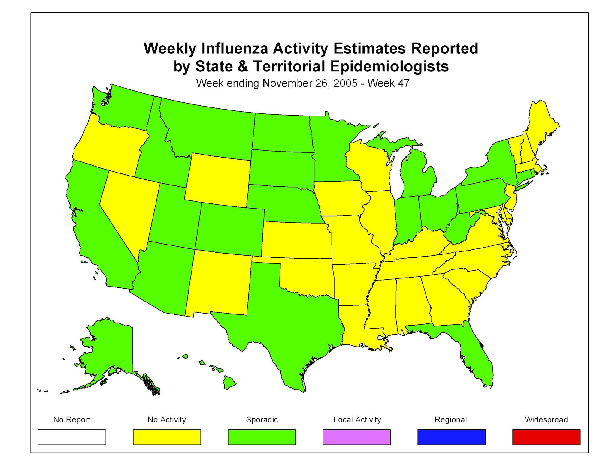 CDC Influenza Flu Weekly Report Influenza Summary Update 47 - Flu In The Us Map