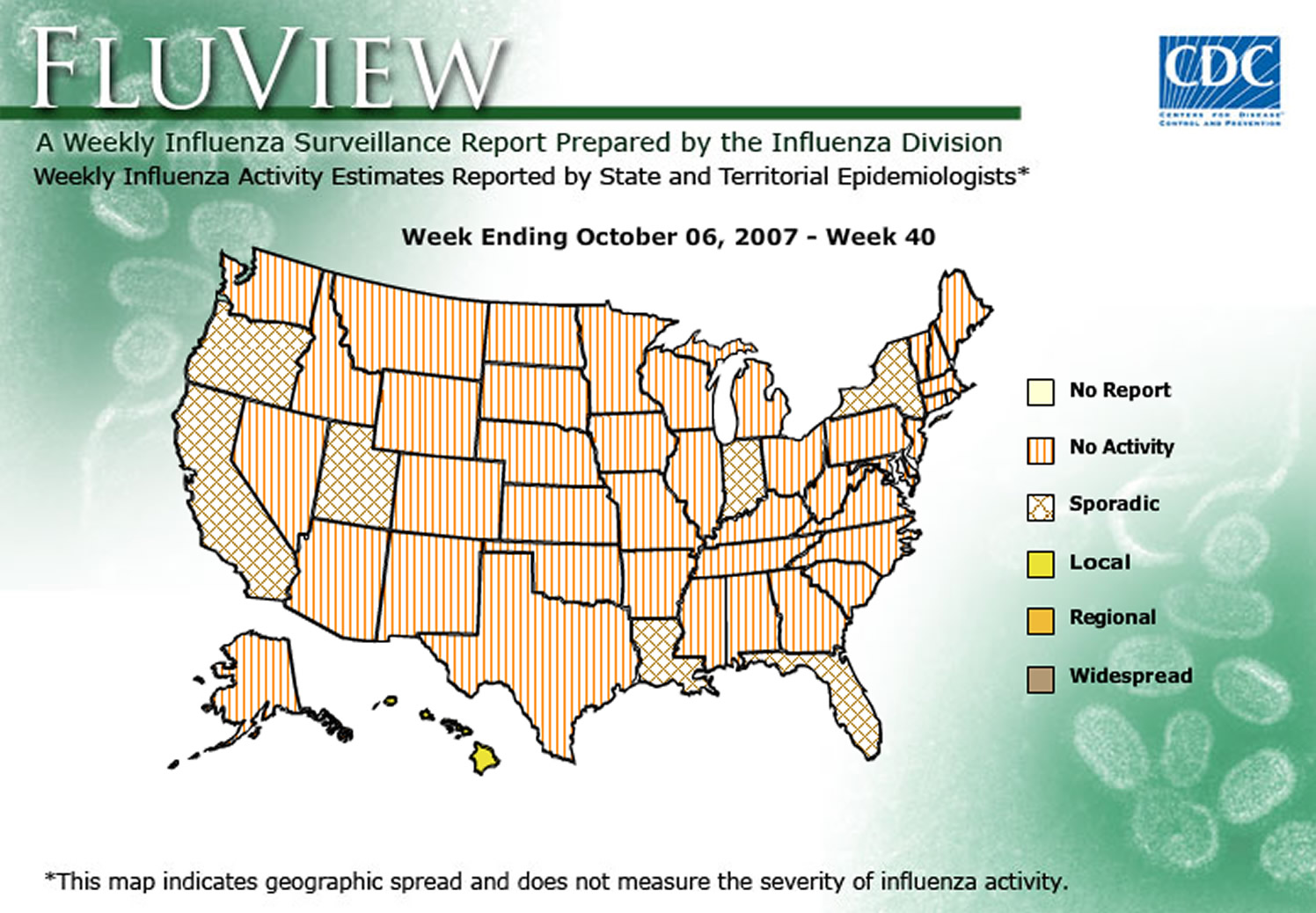 CDC Influenza Historical Weekly Maps on