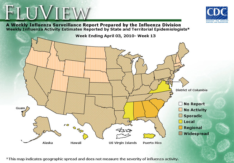 FluView, Week Ending April 3, 2010. Weekly Influenza Surveillance Report Prepared by the Influenza Division. Weekly Influenza Activity Estimate Reported by State and Territorial Epidemiologists. Select this link for more detailed data.