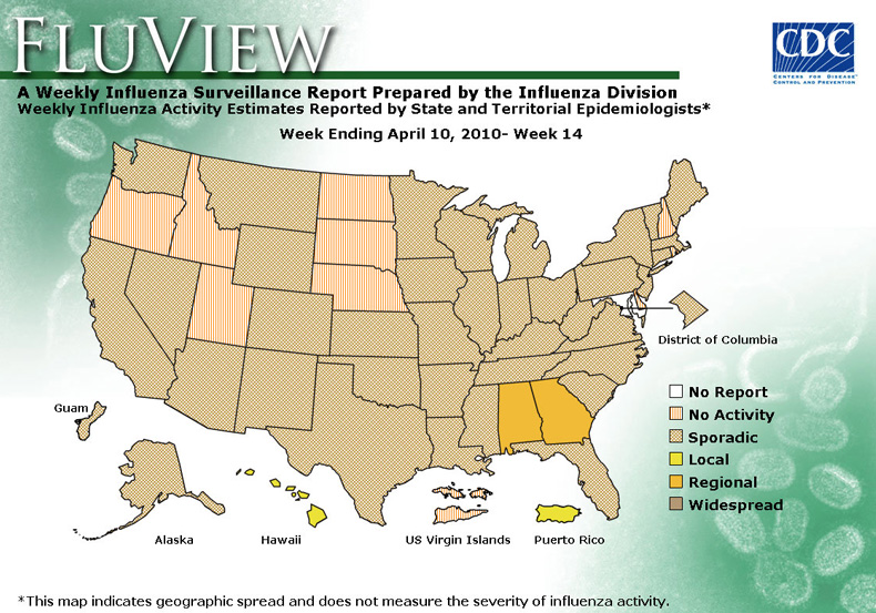 FluView, Week Ending April 10, 2010. Weekly Influenza Surveillance Report Prepared by the Influenza Division. Weekly Influenza Activity Estimate Reported by State and Territorial Epidemiologists. Select this link for more detailed data.