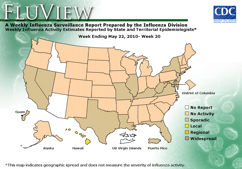 CDC HN Flu HN US Situation Update - Map of us flu outbreak