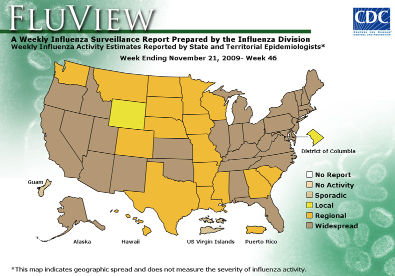 FluView, Week Ending November 21, 2009. Weekly Influenza Surveillance Report Prepared by the Influenza Division. Weekly Influenza Activity Estimate Reported by State and Territorial Epidemiologists. Select this link for more detailed data.