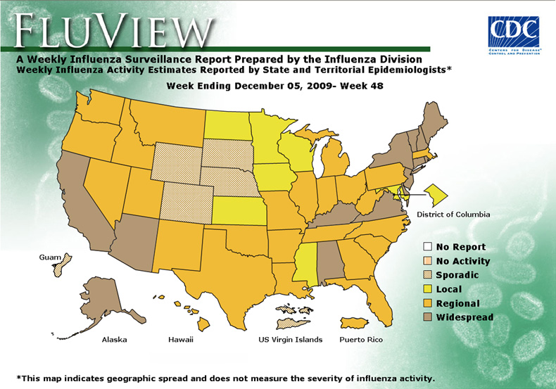 FluView, Week Ending December 5, 2009. Weekly Influenza Surveillance Report Prepared by the Influenza Division. Weekly Influenza Activity Estimate Reported by State and Territorial Epidemiologists. Select this link for more detailed data.