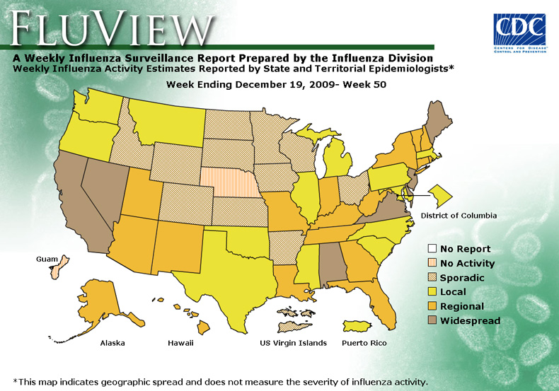 FluView, Week Ending December 19, 2009. Weekly Influenza Surveillance Report Prepared by the Influenza Division. Weekly Influenza Activity Estimate Reported by State and Territorial Epidemiologists. Select this link for more detailed data.