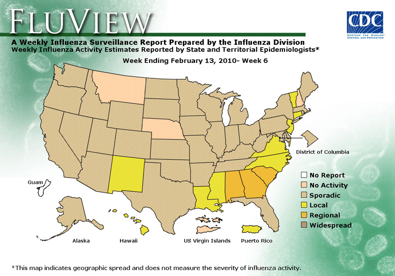 FluView, Week Ending February 13, 2010. Weekly Influenza Surveillance Report Prepared by the Influenza Division. Weekly Influenza Activity Estimate Reported by State and Territorial Epidemiologists. Select this link for more detailed data.