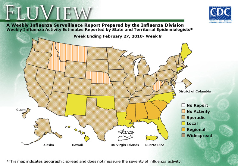 FluView, Week Ending February 27, 2010. Weekly Influenza Surveillance Report Prepared by the Influenza Division. Weekly Influenza Activity Estimate Reported by State and Territorial Epidemiologists. Select this link for more detailed data.