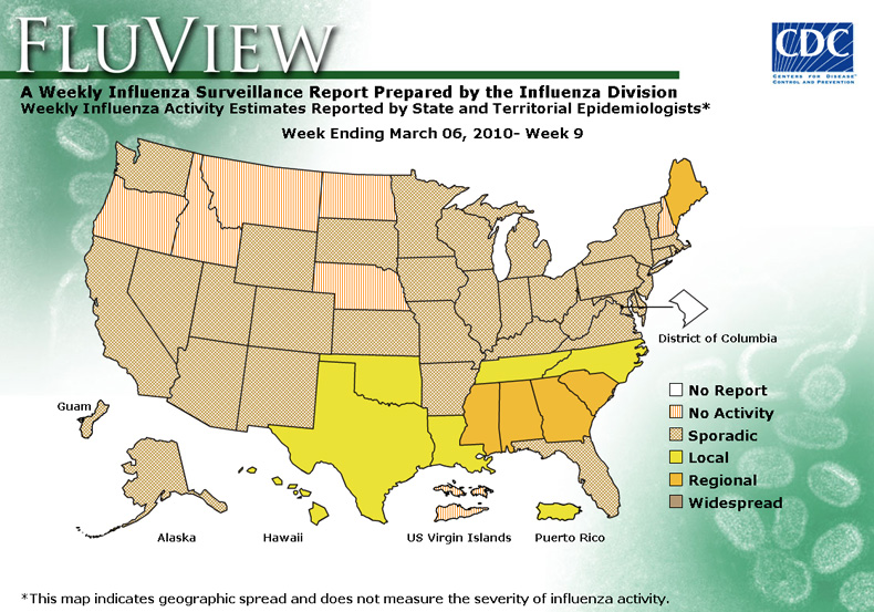 FluView, Week Ending March 6, 2010. Weekly Influenza Surveillance Report Prepared by the Influenza Division. Weekly Influenza Activity Estimate Reported by State and Territorial Epidemiologists. Select this link for more detailed data.