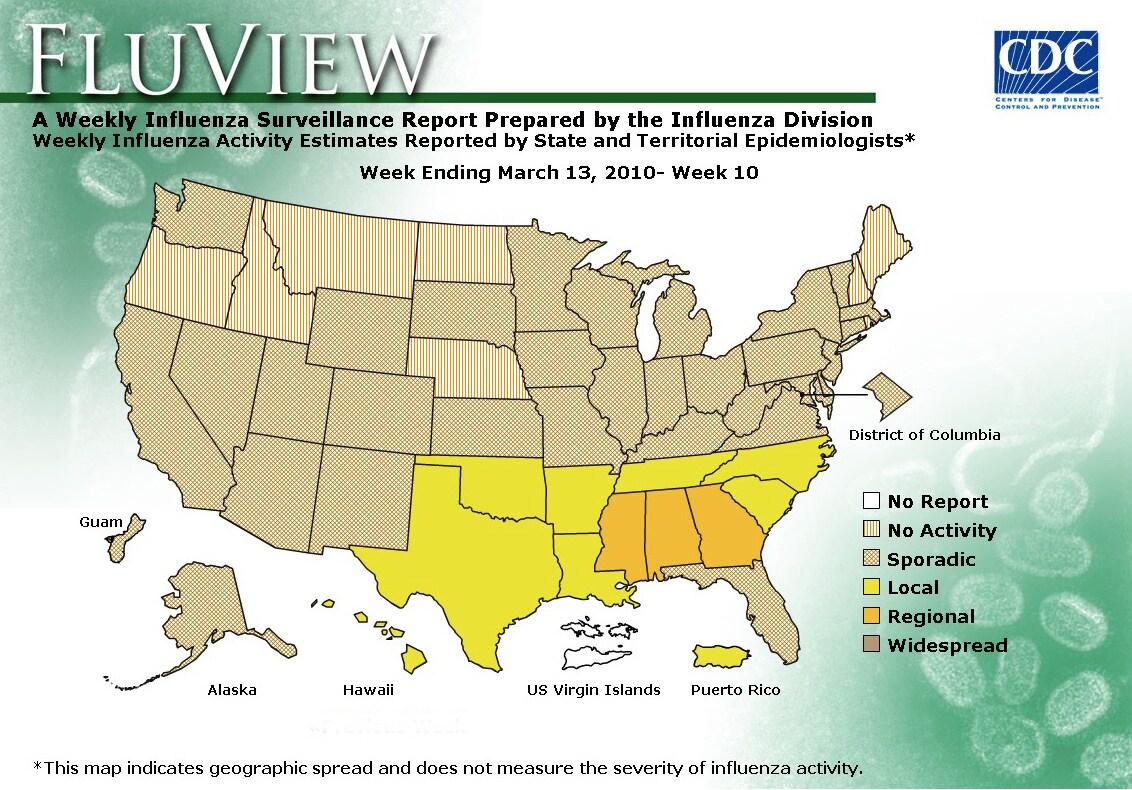 WEEK 10, 2009 FLU MAP NOT PRESENT ON SERVER