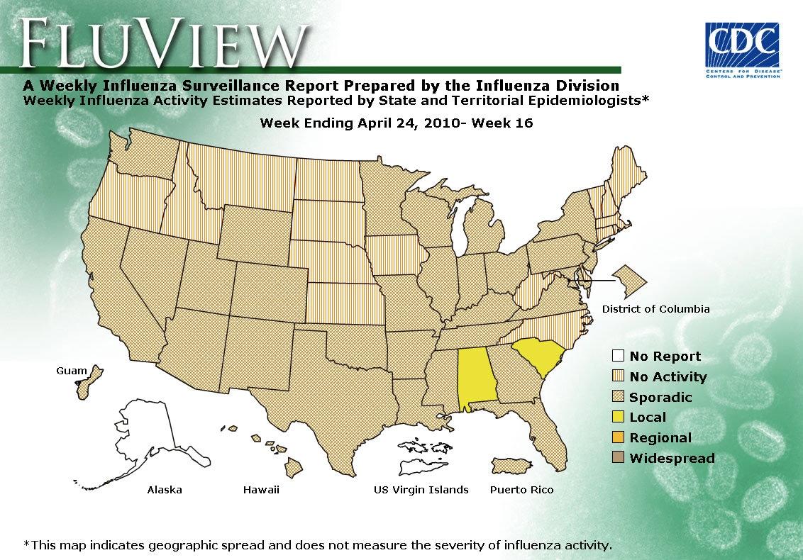 WEEK 16, 2009 FLU MAP NOT PRESENT ON SERVER