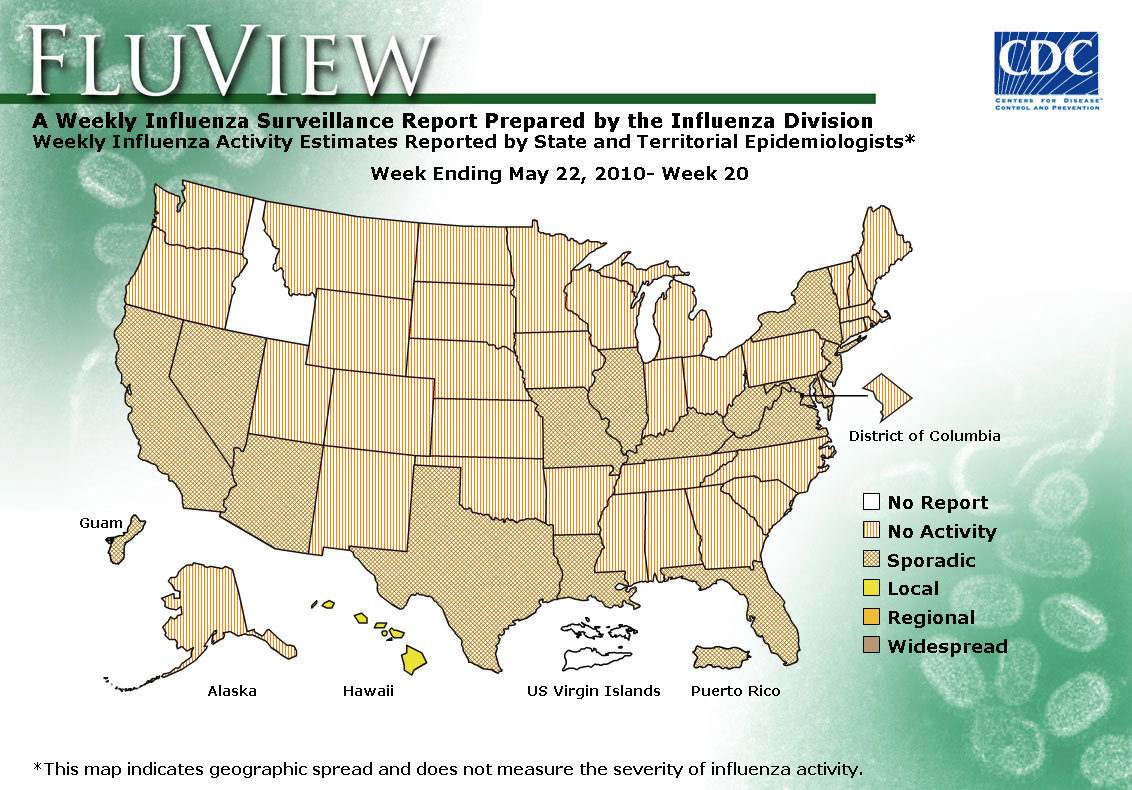 Weekly US Map Influenza Summary Update Seasonal Influenza Flu Flu - Flu in the us map