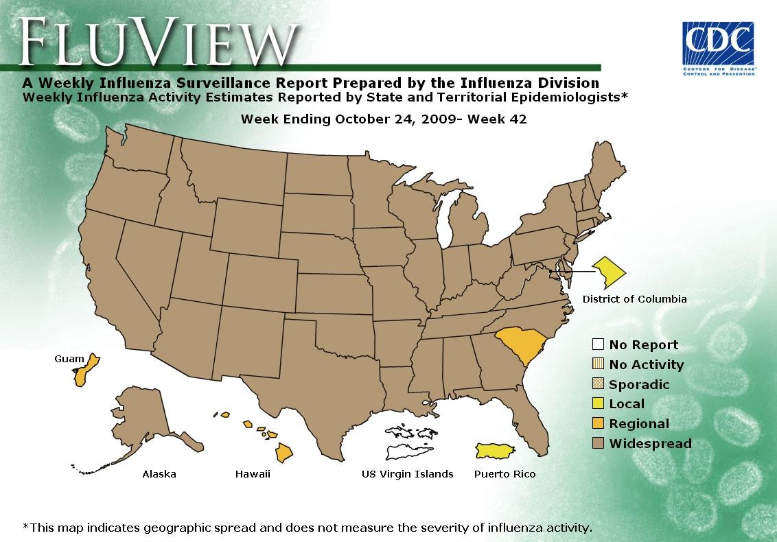 WEEK 42, 2009 FLU MAP NOT PRESENT ON SERVER