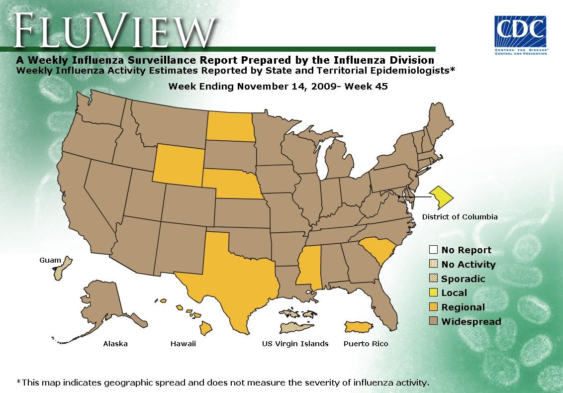 WEEK 45, 2009 FLU MAP NOT PRESENT ON SERVER