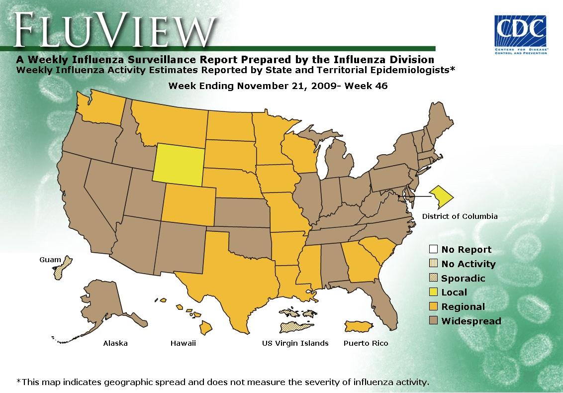 WEEK 46, 2009 FLU MAP NOT PRESENT ON SERVER