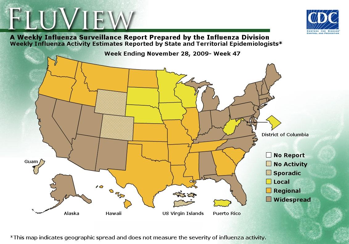 WEEK 47, 2009 FLU MAP NOT PRESENT ON SERVER