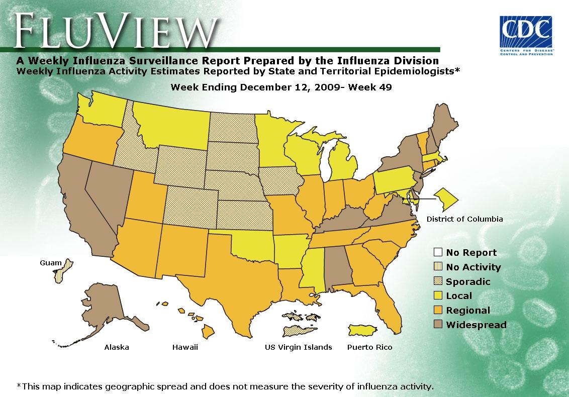WEEK 49, 2009 FLU MAP NOT PRESENT ON SERVER
