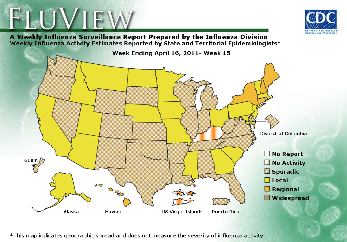 U S Map For Weekly Influenza Activity View Full Screen