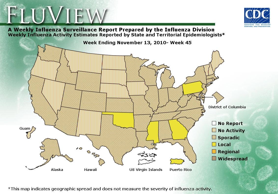WEEK 45, 2010 FLU MAP NOT PRESENT ON SERVER