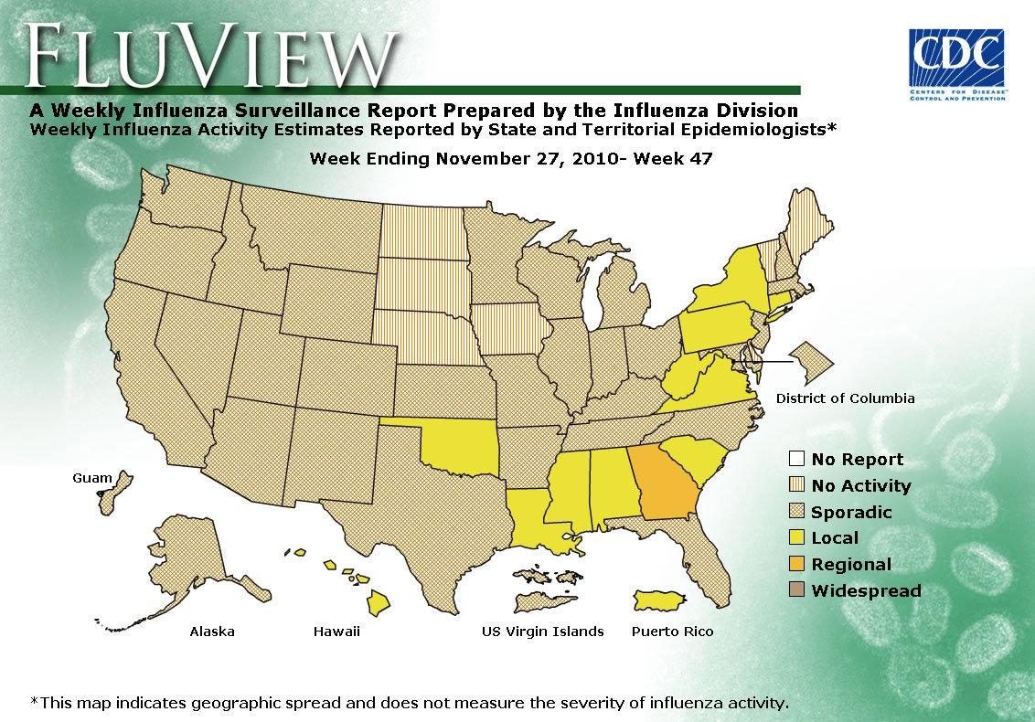 WEEK 47, 2010 FLU MAP NOT PRESENT ON SERVER