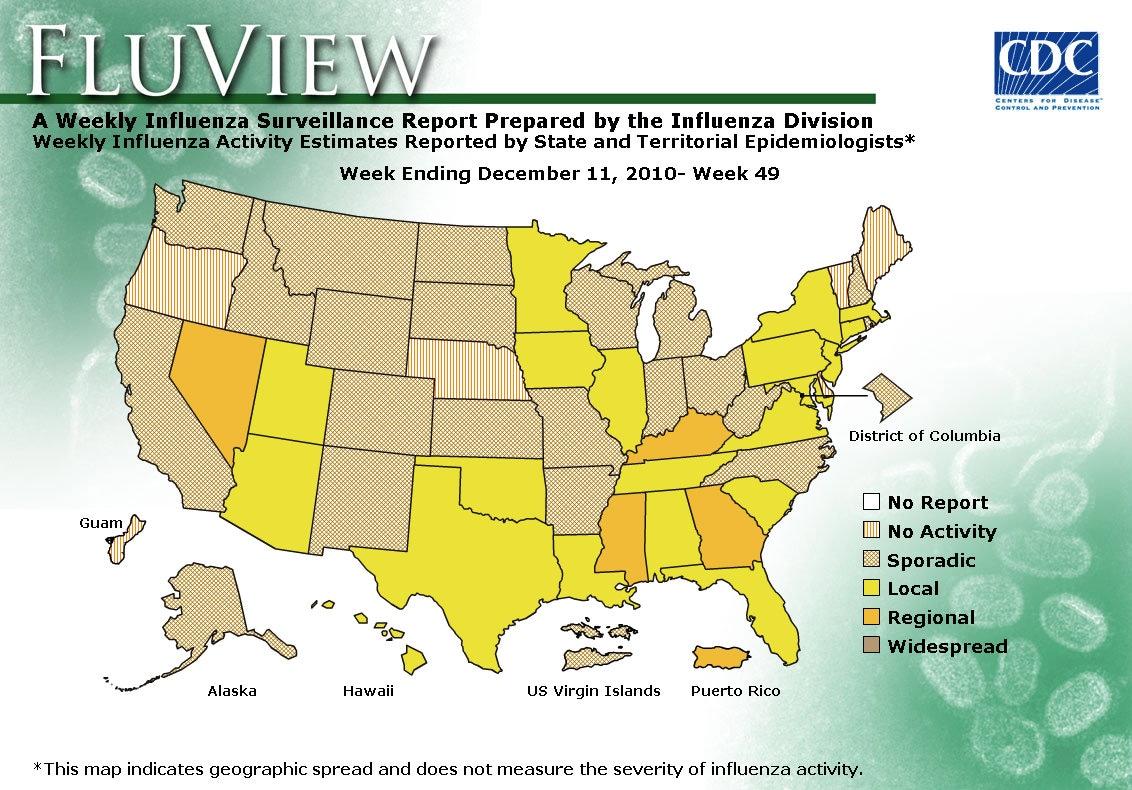 WEEK 49, 2010 FLU MAP NOT PRESENT ON SERVER