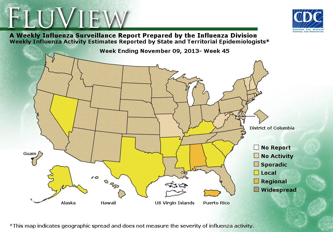 CDC Seasonal Influenza Flu Weekly Report Influenza Summary - Create a us map graph