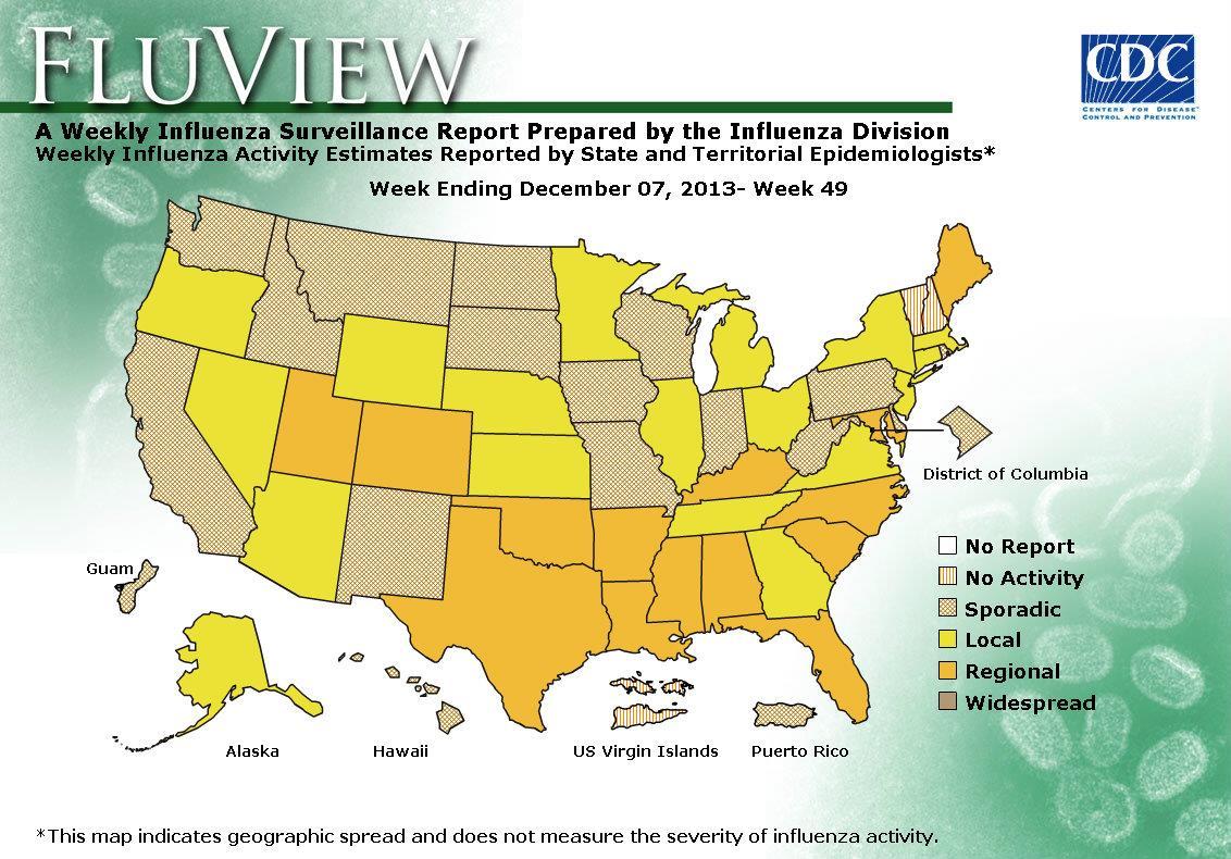 WEEK 49, 2013 FLU MAP NOT PRESENT ON SERVER