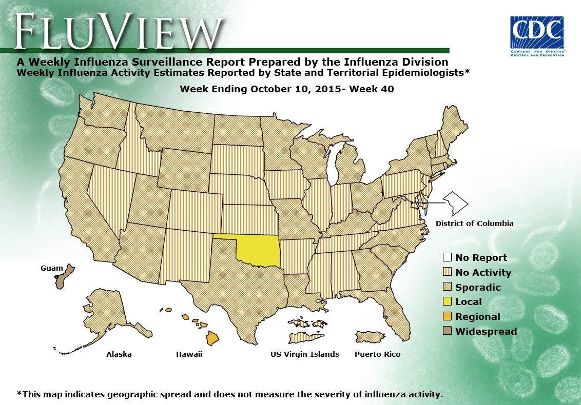 Flu 2015 Map CDC   Influenza (Flu) | Weekly Report: Influenza Activity