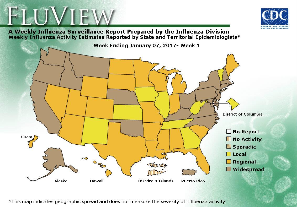 CDC Influenza Flu Weekly Report Image Download - Us flu map 2017