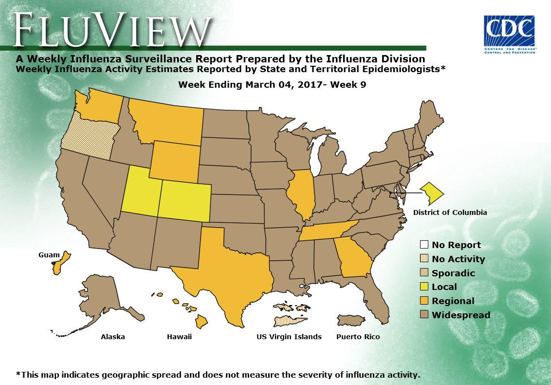 Weekly Flu Activity Map: Week 09