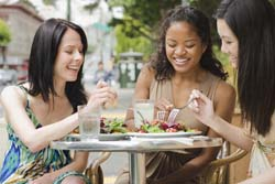 Women dining in restaurant.