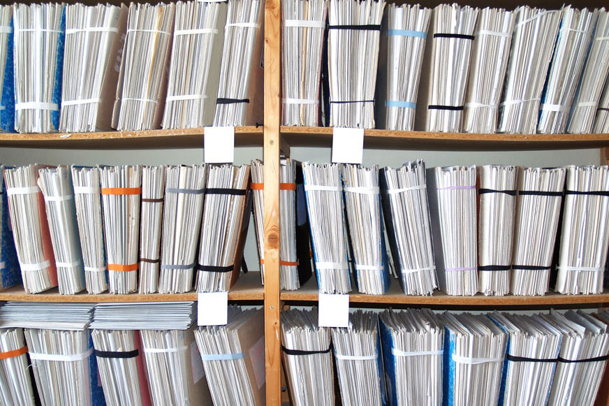 image of files sitting on shelves