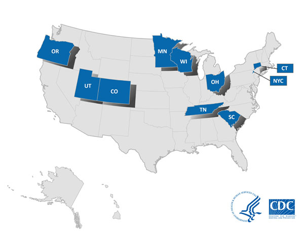US Map of FoodCORE Centers. Centers include Connecticut, Colorado, Minnesota, New York City, Ohio, Oregon, South Carolina, Tennessee, Utah, and Wisconsin.