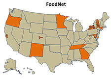 Map of the United States showing the states involved  with FoodNet