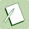 A green icon displaying a pen and notepad.