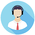 person with phone headset icon