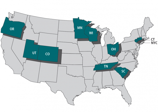 Map showing the FoodCORE year seven centers including Colorado, Connecticut, Minnesota, New York City, Ohio, Oregon, South Carolina, Tennessee, Utah, and Wisconsin