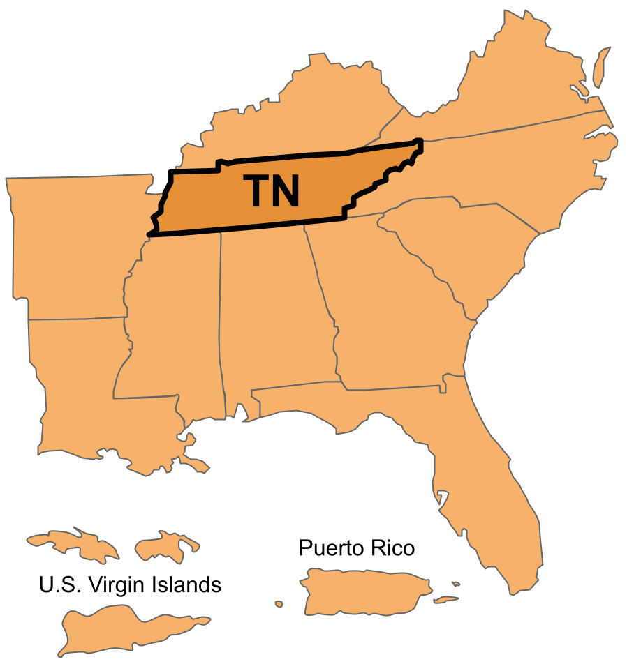 Tennessee Region including Puerto Rico and the U.S. Virgin Islands