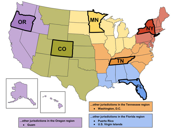 CoE Regional Map with the six regional states: Oregon, Colorado, Minnesota, Tennessee, New York and Florida.