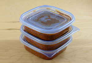 store leftovers in smaller portions