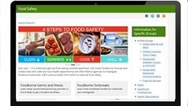 screen shot of food safety home page