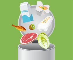 Graphic of food being thrown out into trash can