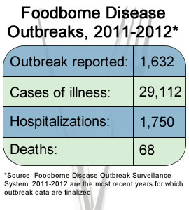 Graph: Foodborne Disease Outbreaks, 2008. Source: Foodborne Disease Outbreak Surveillance System. 2008 was the most recent year for which outbreak data are finalized. Outbreaks reported: 1,034; Cases of illness: 23,152; Hospitalizations: 1,276; Deaths: 22.