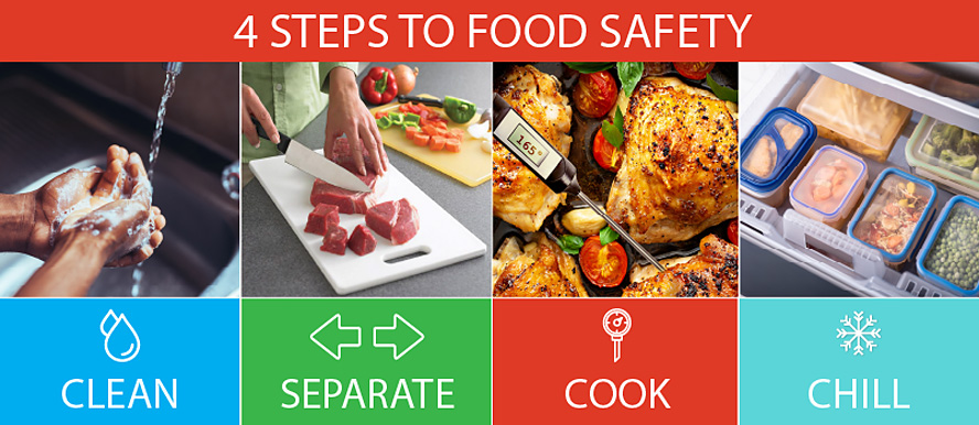 4 Steps to Food Safety - Clean, Separate, Cook and Chill